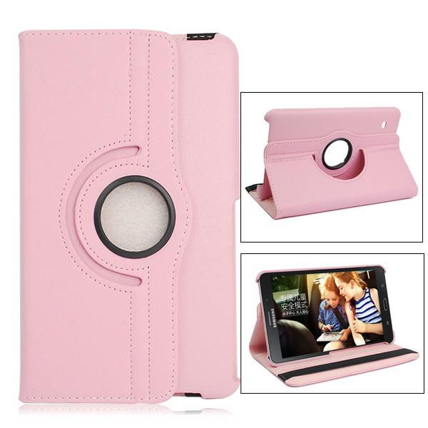 360 Degree Rotating Flip Case for Samsung Galaxy T330 Tab4 8.0 - Pink