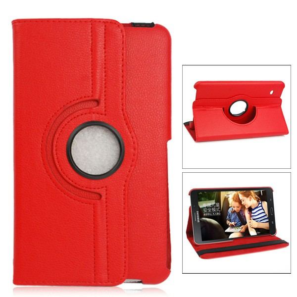 360 Degree Rotating Flip Case for Samsung Galaxy T330 Tab4 8.0 - Red
