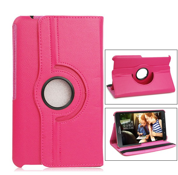 360 Degree Rotating Flip Case for Samsung Galaxy T330 Tab4 8.0 - Hot Pink