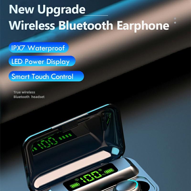F9-8 TWS Bluetooth 5.1 Headphones Charge Display Premium Wireless Headset