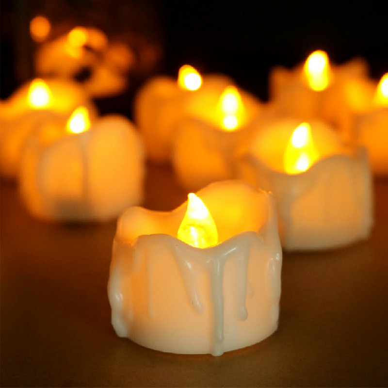 12PCS Flameless LED Candle Flickering Tea Light Battery Operated Lamp - Warm Light Flash