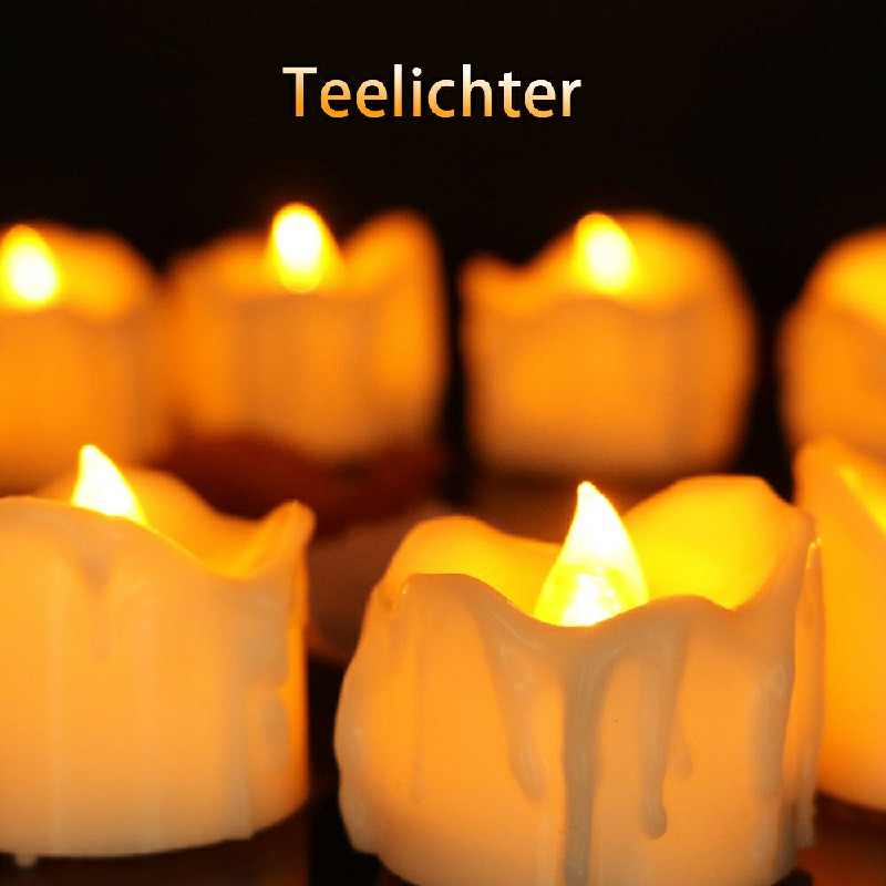 12PCS Flameless LED Candle Flickering Tea Light Battery Operated Lamp - Warm Light Steady on