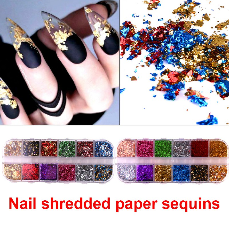 Nail Art Foil Leaf Gold Silver Flakes Chunky Glitter Body Manicure Decor Makeup - CBH
