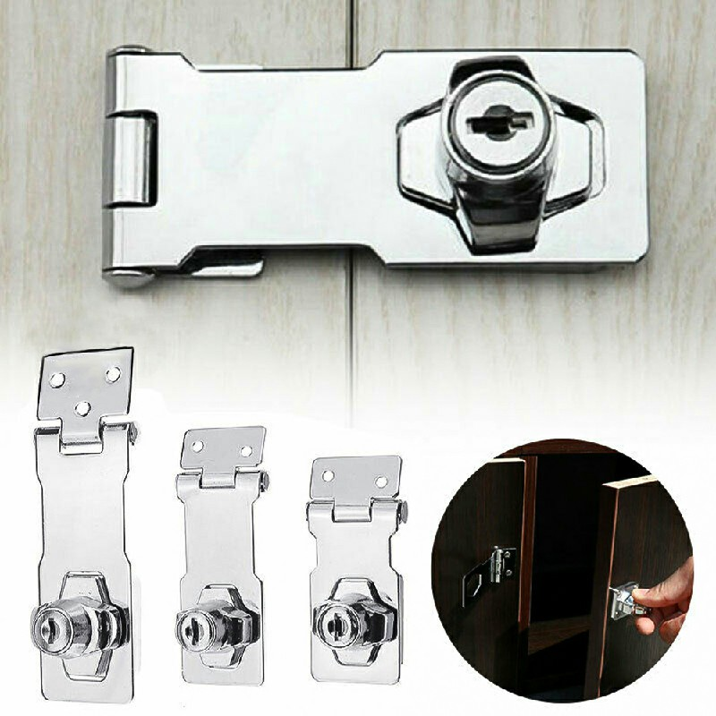 Locking Hasp and Staple with Keys Padlock Cupboard Shed Garage Lock - 3 inch Silver