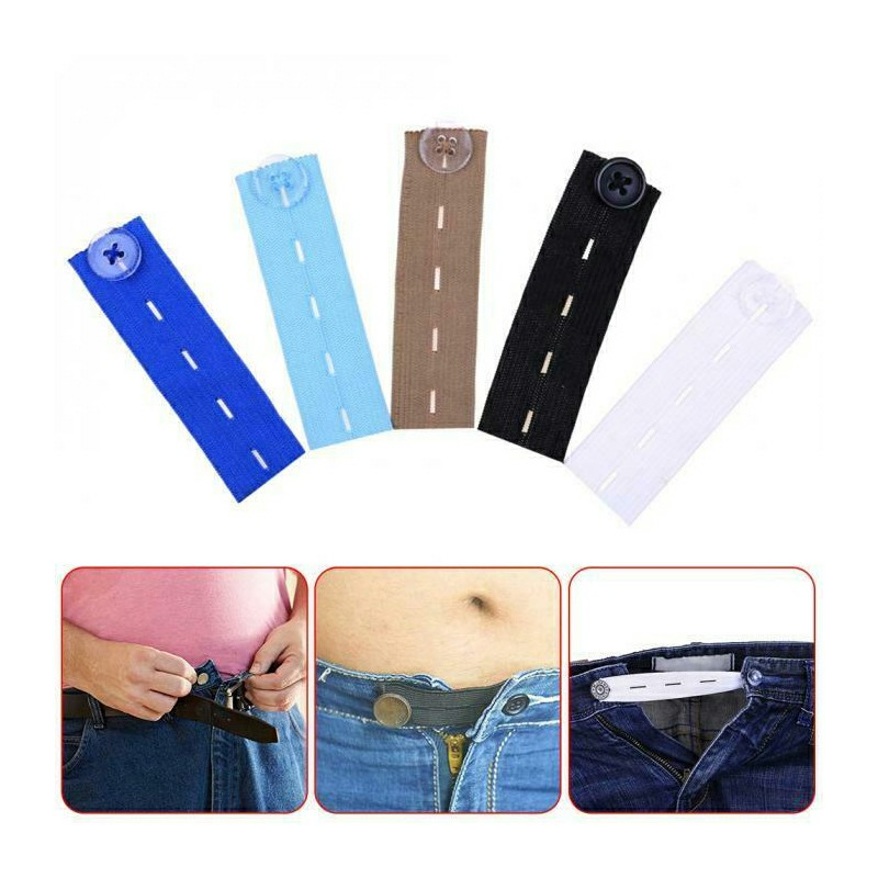 Adjustable Elastic Waist Extenders with Button Waistband Expander Set for Jeans Pant Shorts Trousers - Sky Blue