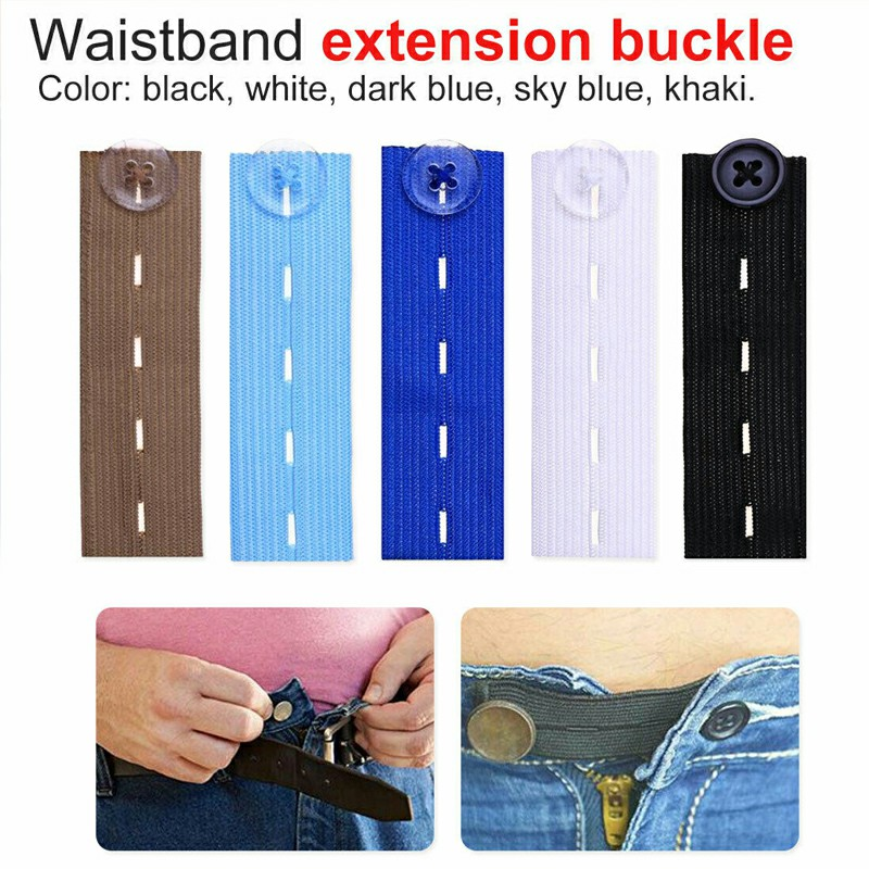 Adjustable Elastic Waist Extenders with Button Waistband Expander Set for Jeans Pant Shorts Trousers - Dark Blue