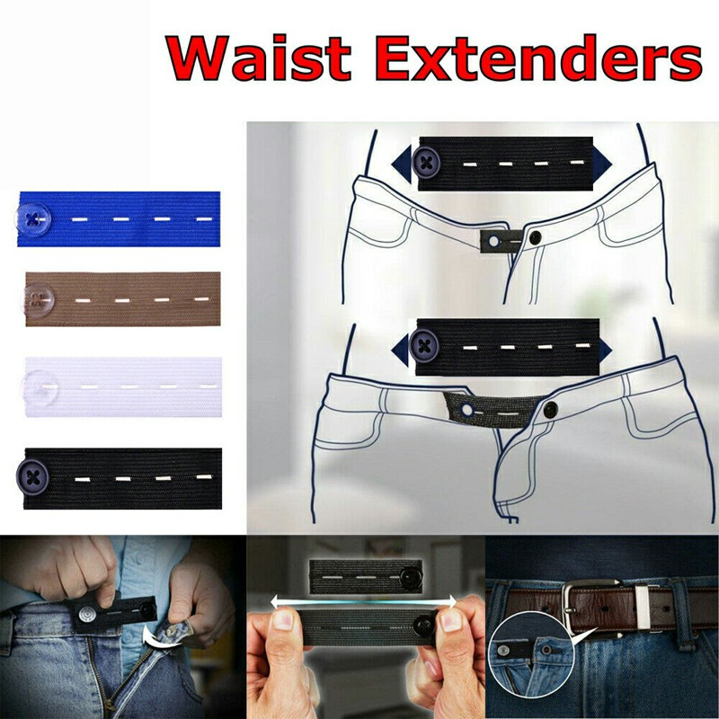 Adjustable Elastic Waist Extenders with Button Waistband Expander Set for Jeans Pant Shorts Trousers - Black