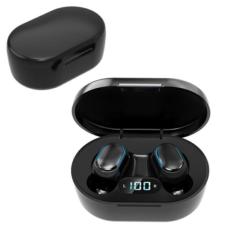 E7S TWS Wireless V5.0 Bluetooth Earphones Mini Stereo Earbuds Macaron Colour - Black