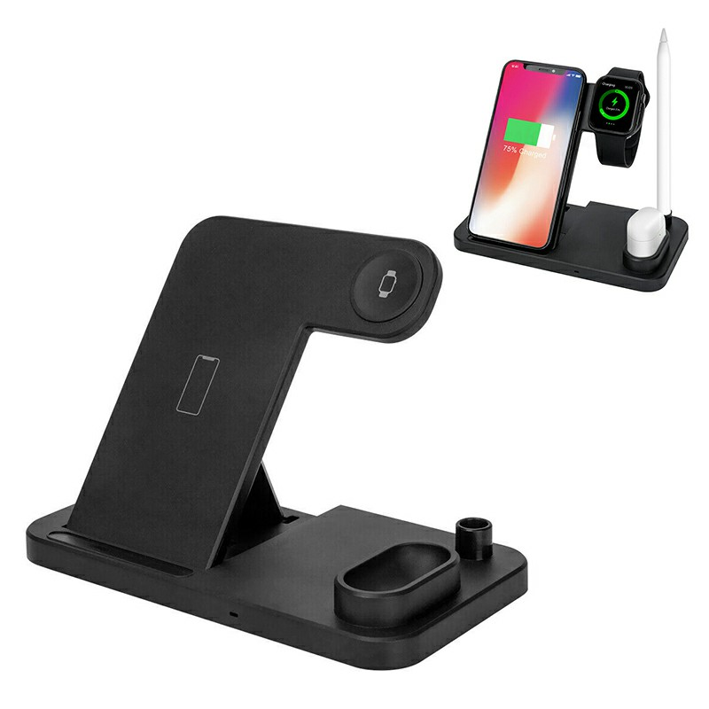 4 in 1 Wireless Fast Charger Charging Pad Stand Station Dock for iPhone Apple Watch Earphone Apple Stylus - Black