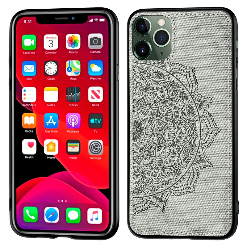 Mandragora Flower Back Case Cover Fabric Embossed TPU + PC Phone Case for iPhone 11 Pro - Grey