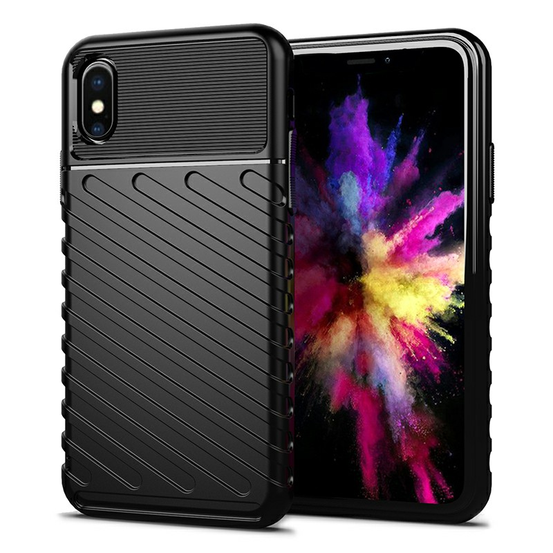 Textured Mobile Phone Shell Soft Silicone Simple Phone Case Flexible Back Cover for iPhone X/XS - Black