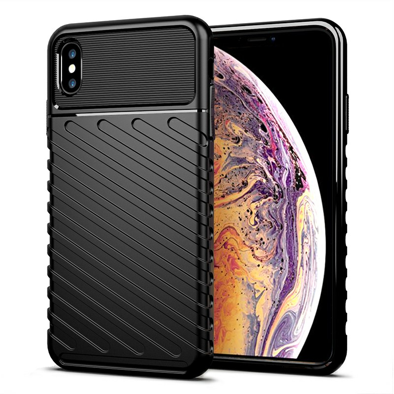 Soft Silicone Simple Phone Case Flexible Back Cover Textured Mobile Phone Shell for iPhone XS Max - Black