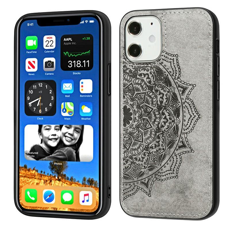 Mandala Embossed Fabric Phone Case TPU + PC Back Case for iPhone 12 - Grey