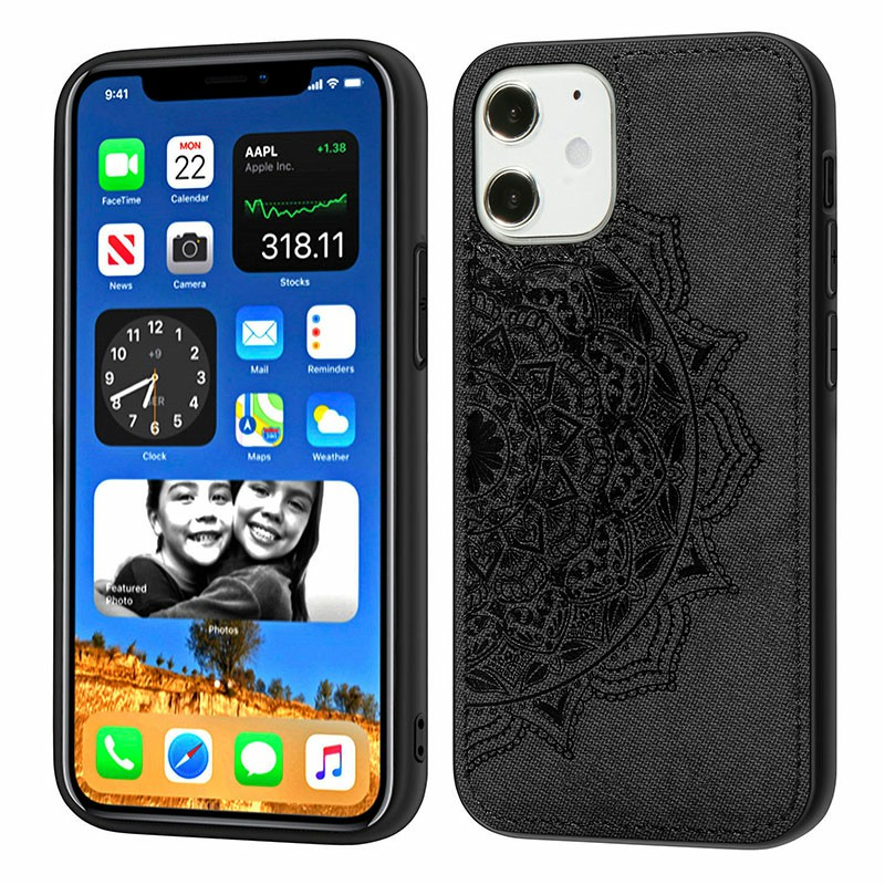 Mandala Embossed Fabric Phone Case TPU + PC Back Case for iPhone 12 - Black