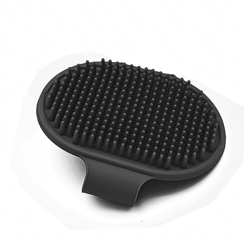 Pet Grooming Brush Cat Dog Detaining Massage Rubber Pad For Long and Short Hair - Black
