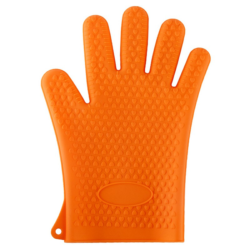 Single Hand High Temperature Heat Resistant Silicone Oven Kitchen Gloves Cooking Baking BBQ Gloves Kitchen Accessories - Orange