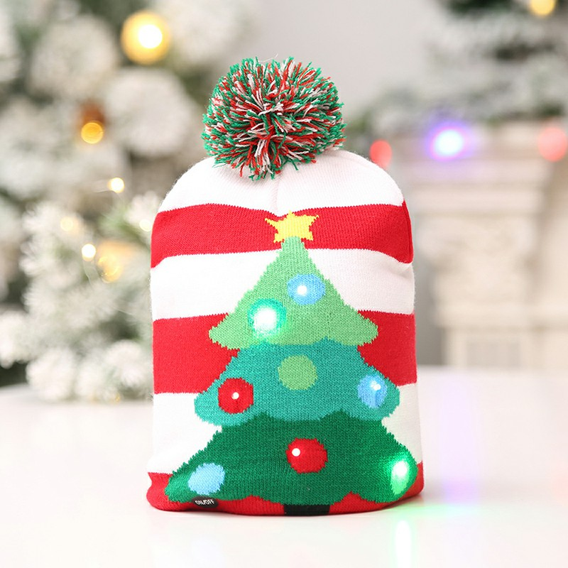 LED Light Knitted Christmas Warm Hat New Year Party Decoration Tree Snowflake Hat for Adult - Christmas Tree
