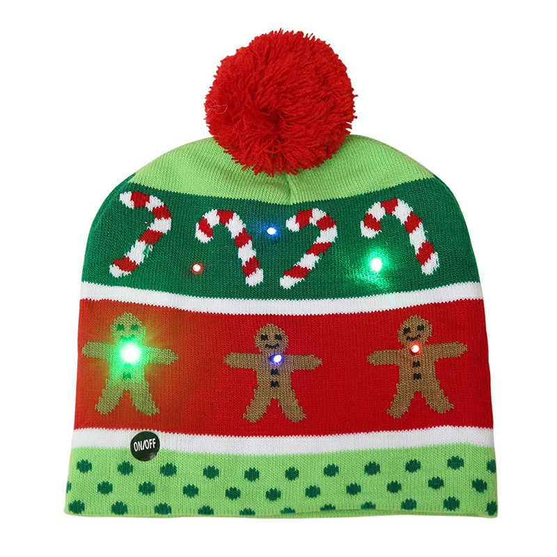 Christmas LED Light Winter Warm Beanie Cap New Year Party Santa Knitted Hat Decoration for Kid Adult - Gingerbread Man
