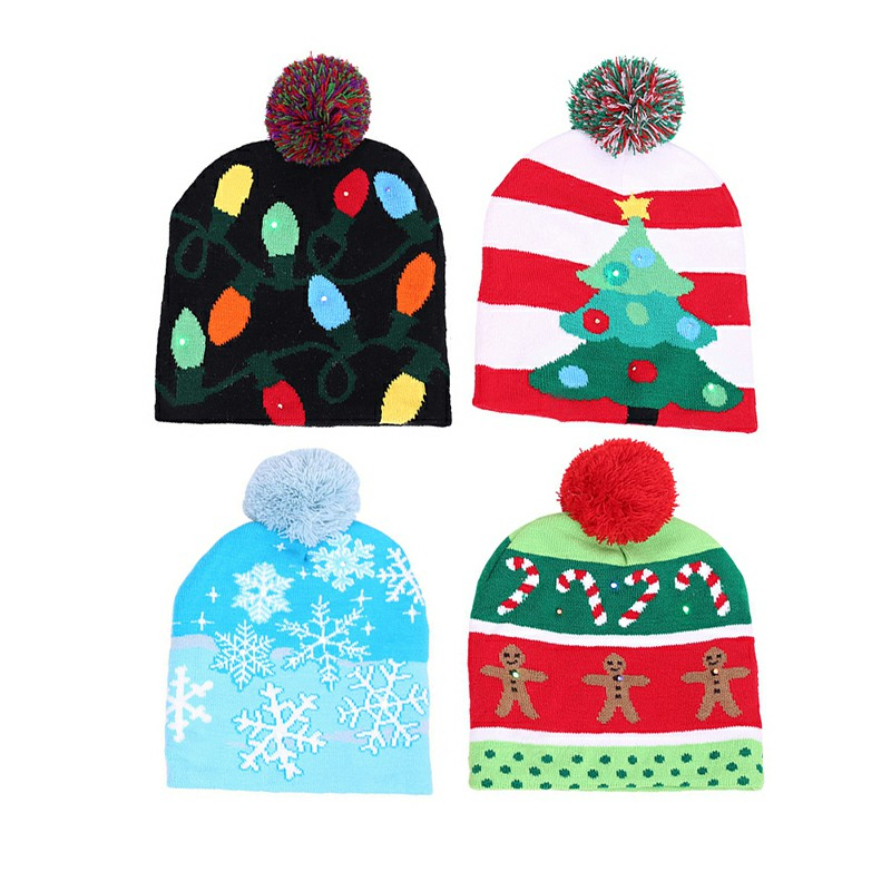 Christmas LED Light Winter Warm Beanie Cap New Year Party Santa Knitted Hat Decoration for Kid Adult