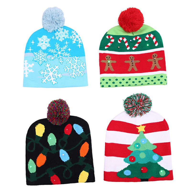 Christmas LED Light Winter Warm Beanie Cap New Year Party Santa Knitted Hat Decoration for Adult - Snowflake