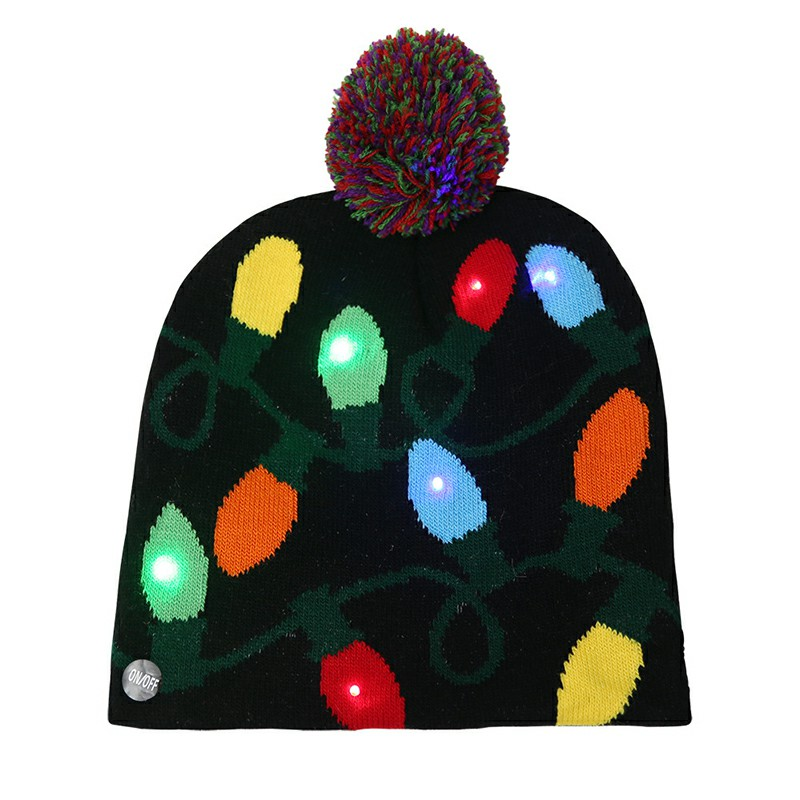 Christmas LED Light Winter Warm Beanie Cap New Year Party Santa Knitted Hat Decoration for Kid Adult - Lantern