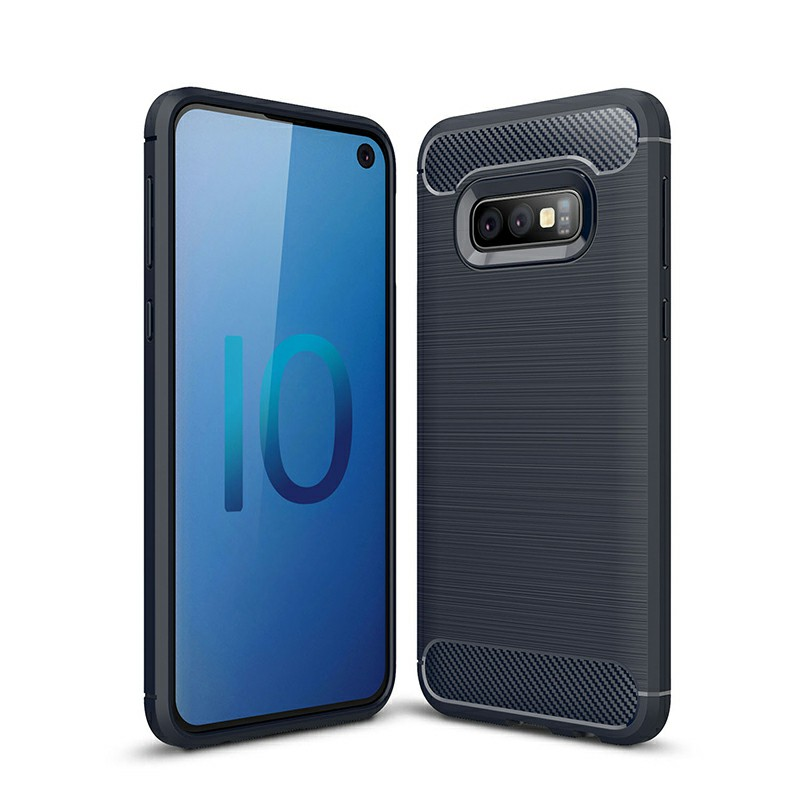 TPU Carbon Fiber Pattern Shockproof Phone Case Back Cover for Samsung Galaxy S10e - Navy Blue
