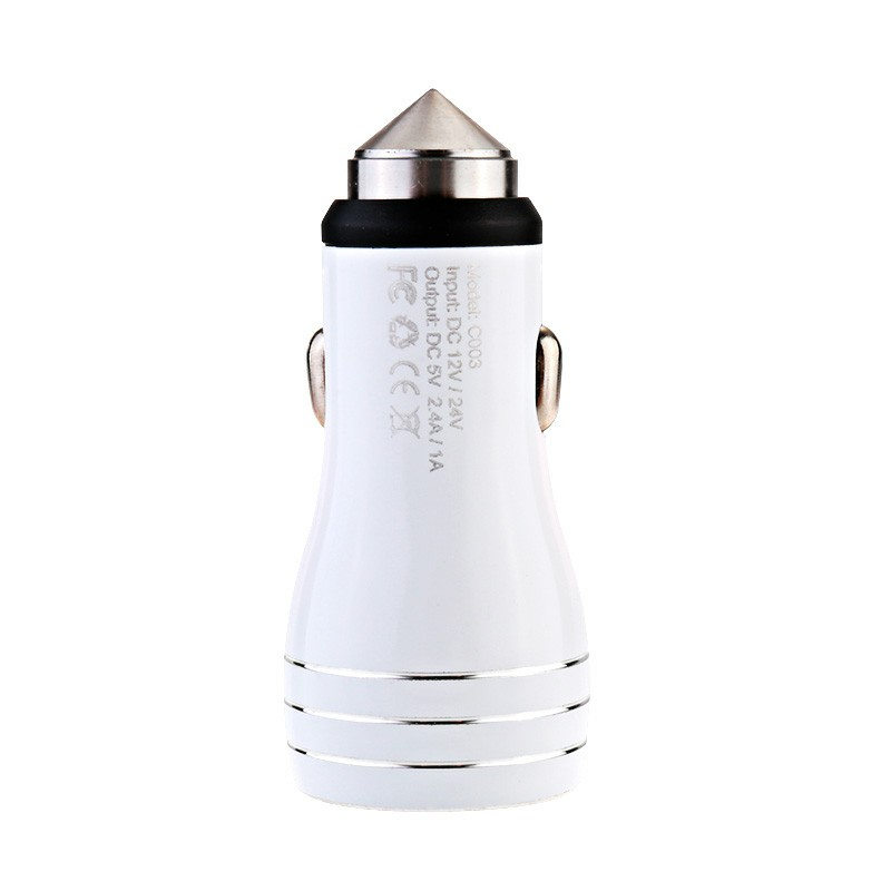 5V 2.4A / 1A Dual USB Car Socket Charger Mini Bullet Safety Hammer Car Charger for Smart Mobile Phones - White