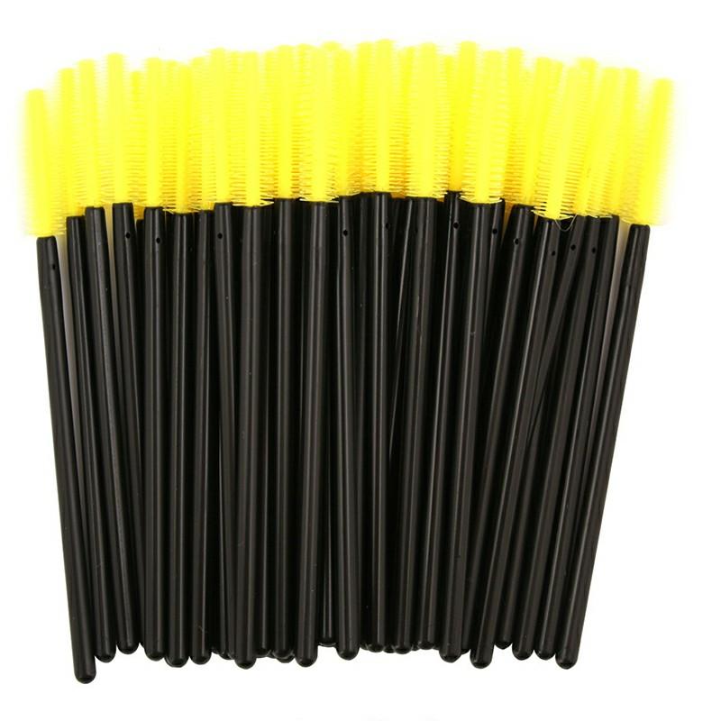 50PCS Disposable Eyelashes Brushes Silicone Wands Lashes Makeup Mascara Brushes - Yellow