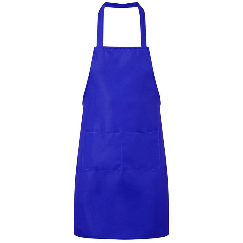 Plain Unisex Cooking Catering Work Apron Tabard with Twin Double Pocket - Royal Blue