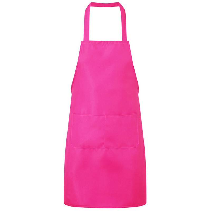 Plain Unisex Cooking Catering Work Apron Tabard with Twin Double Pocket - Rose Red