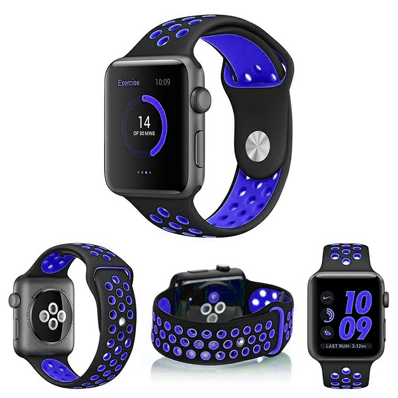 38mm Apple Watch Silicone Replacement Band Sport Edition Strap for Apple Watch 1 2 - Black + Blue