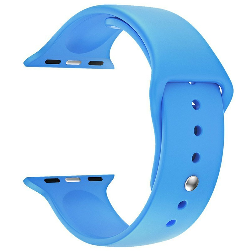 For Apple Watch 42mm Silicone Sport Strap Wristwatch Band Wristband - Blue