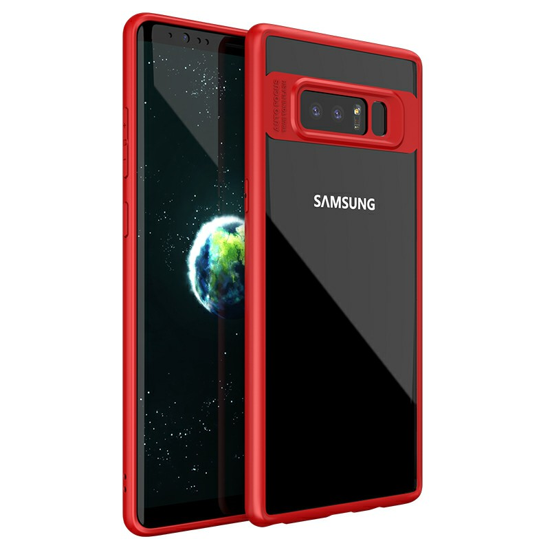 Hybrid TPU Frame + Clear Acrylic Phone Case for Samsung Galaxy Note 8 - Red
