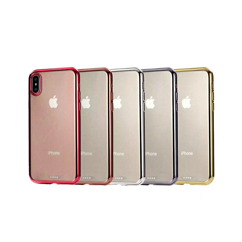 Clear Plating Soft Silicone TPU Back Cover Phone Case for Apple iPhone X/XS - Red