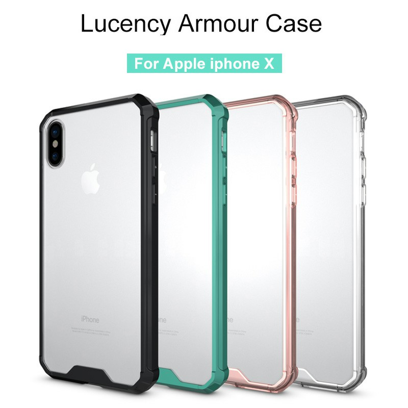 TPU Bumper Grip + Clear Hard Acrylic Phone Case Shell for iPhone X/XS - Transparent