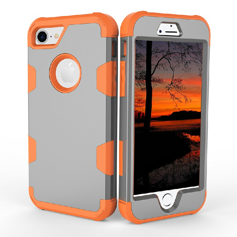 iPhone 7 8 PC + TPU Case Shockproof Bump Protective Shell Back Cover - Grey + Orange