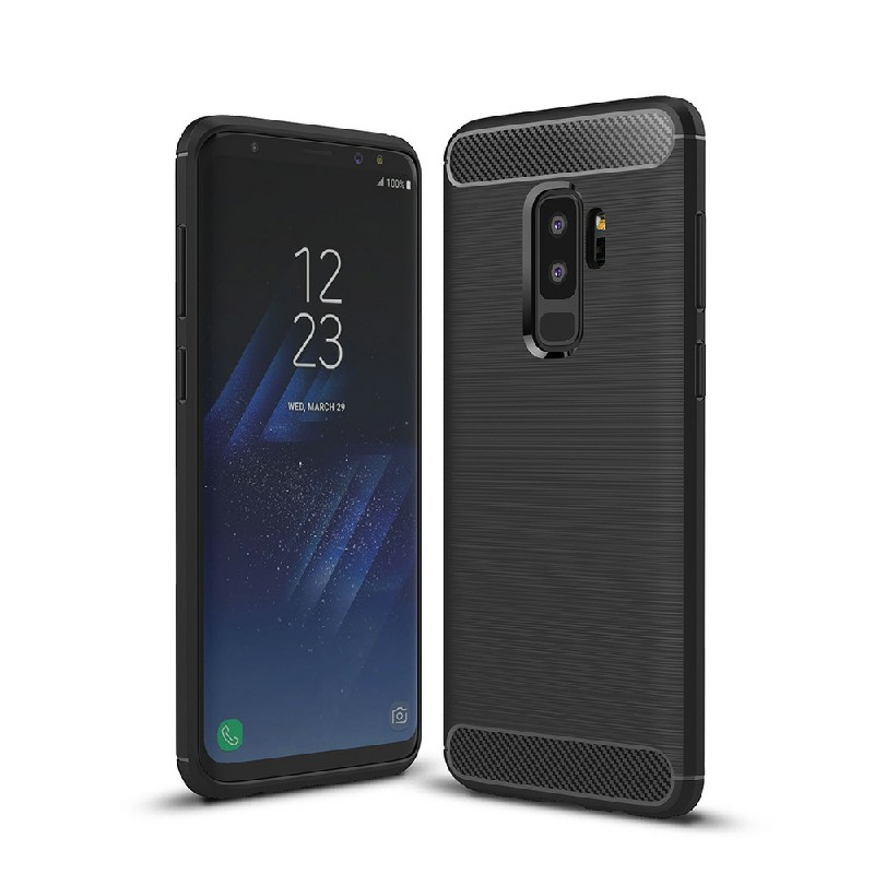 Flexible Shockproof Carbon Fibre Soft TPU Rubber Case Cover for Samsung Galaxy S9 Plus - Black