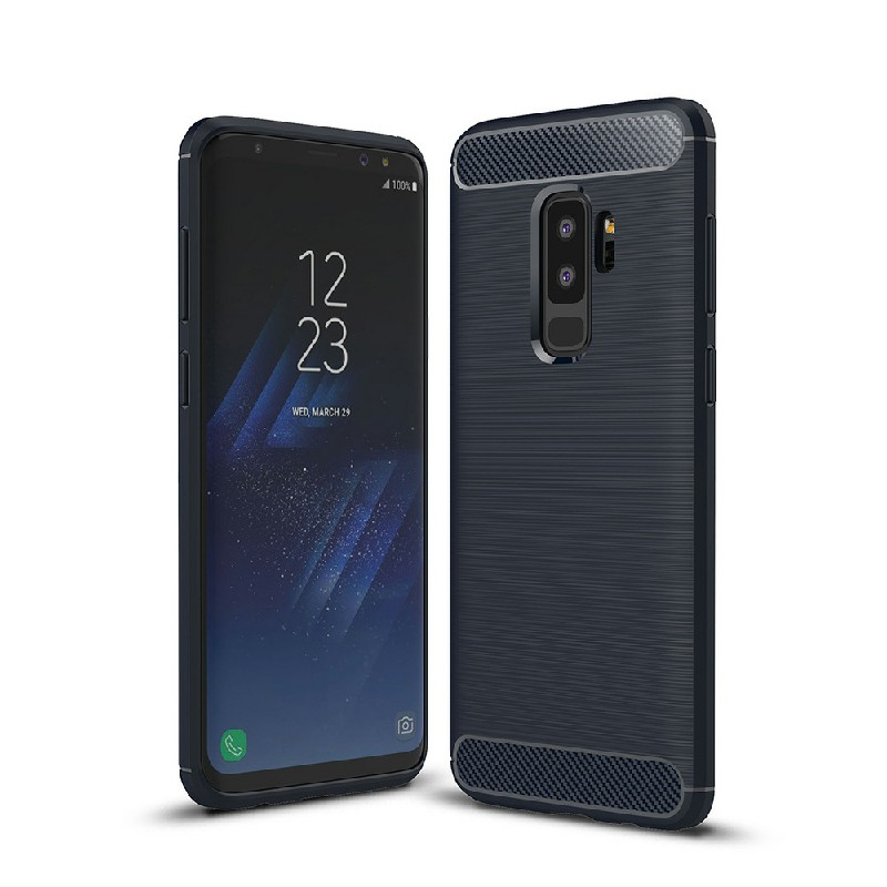 Flexible Shockproof Carbon Fibre Soft TPU Rubber Case Cover for Samsung Galaxy S9 Plus - Blue