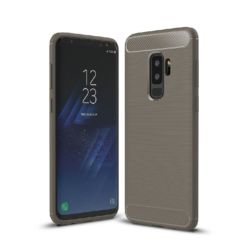 Flexible Shockproof Carbon Fibre Soft TPU Rubber Case Cover for Samsung Galaxy S9 Plus - Grey