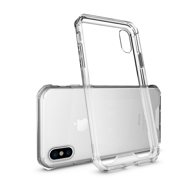Shockproof Clear Back Hard Arylic Case TPU Bumper Phone Cover for iPhone X/XS - Transparent