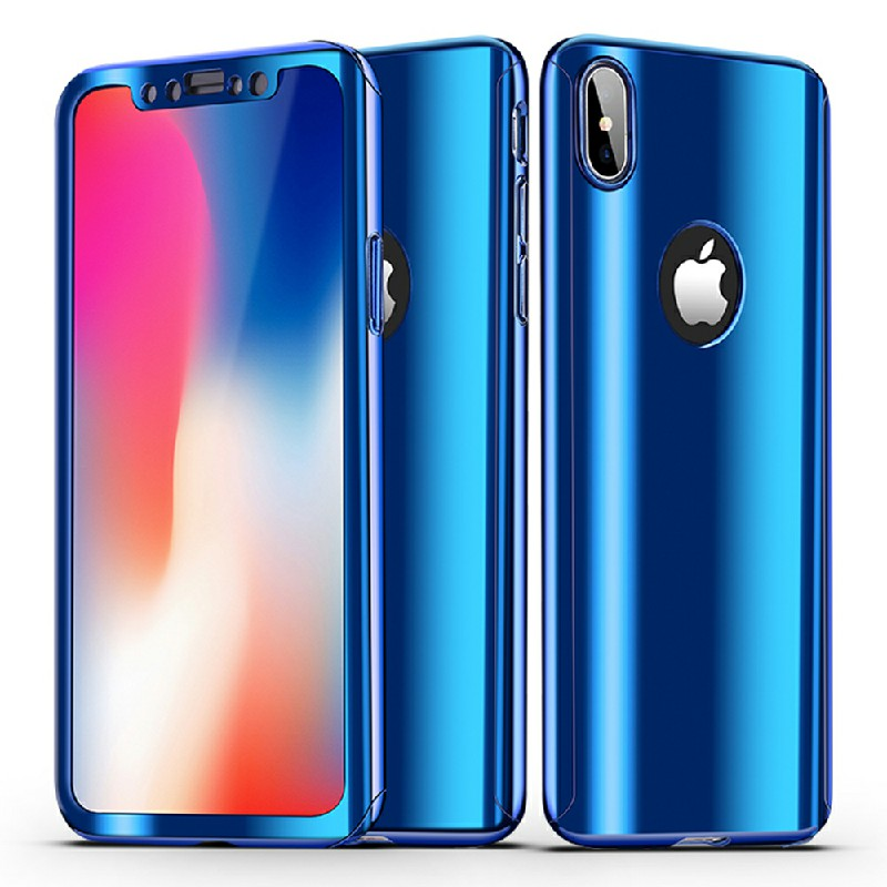 iPhone X/XS 360 Degree Full Body Slim Luxury Protection Case Cover - Blue