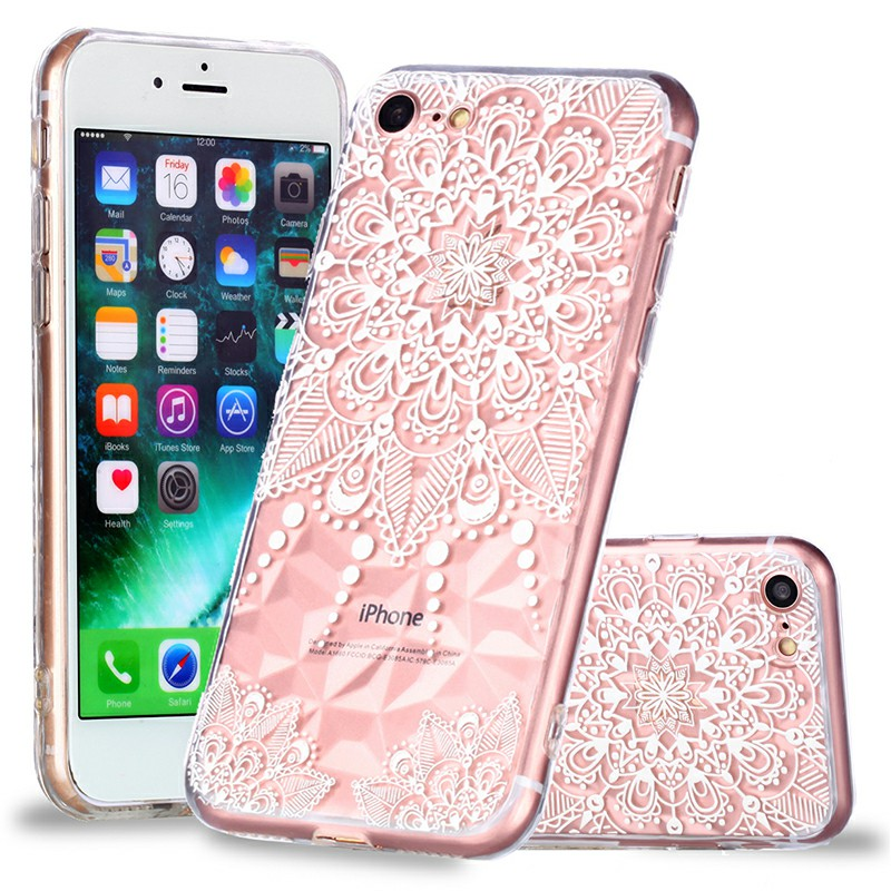 Crystal Bling Diamond Pattern TPU Case Clear Soft Silicone Shockproof Back Cover for iPhone 7/8 - Pointer Mandala