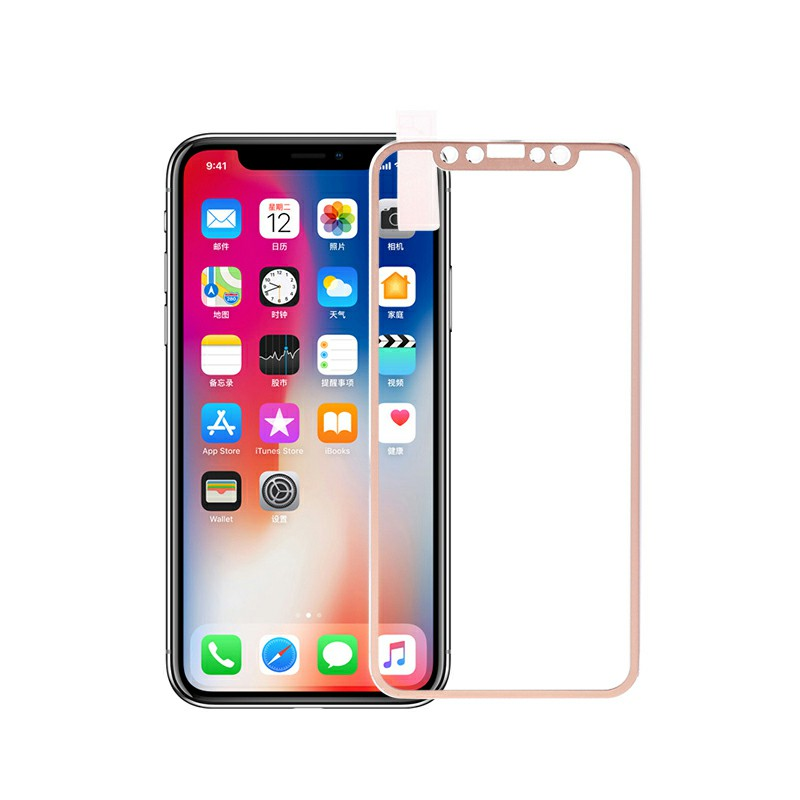iPhone X/XS/11 Pro 3D Tempered Glass Metal Edge to Edge Screen Protector - Golden