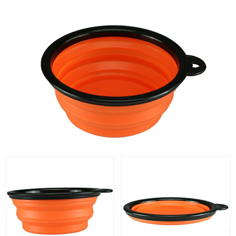 Pet Dog Cat Silicone Collapsible Feeding Bowl Travel Portable Bowl with Metal Buckle - Orange