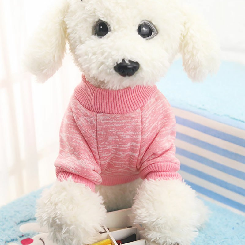 Pet Warm Knitted Sweater Coat Dog Cat Cute Costume Apparel Jumper Clothes Size S - Pink