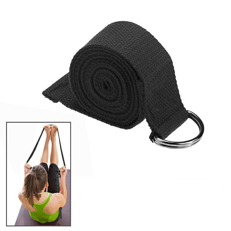 D-Ring Cotton Yoga Stretch Strap Training Belt Fitness Exercise Gym Equipment - Black