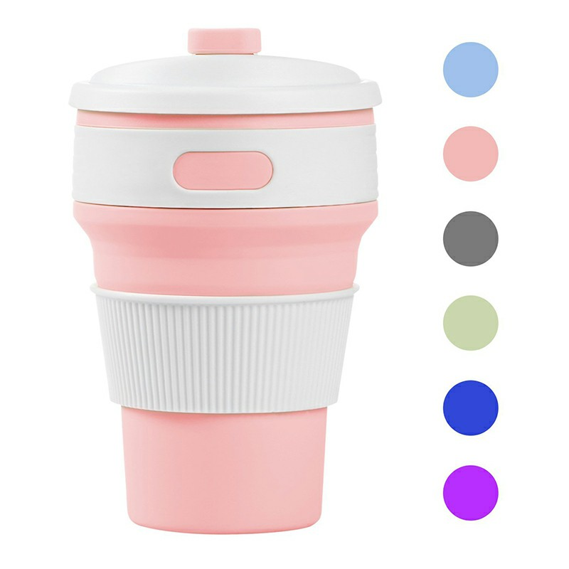 Collapsible Silicone Telescopic Water Bottle Foldable Portable Leakproof Cup - Pink