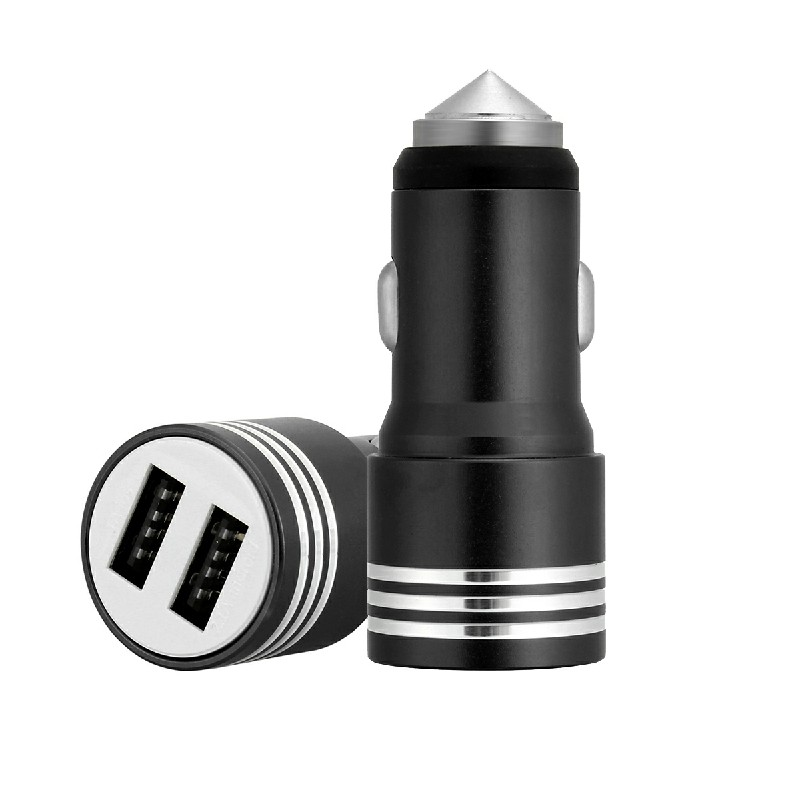 Car Charger Adaptor Dual USB Safety Hammer Charger for Phone - Black