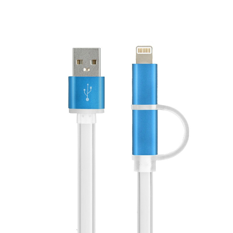2 in 1 Charging Crystal Cable USB Data Cable for iPhone Android Phones - Blue