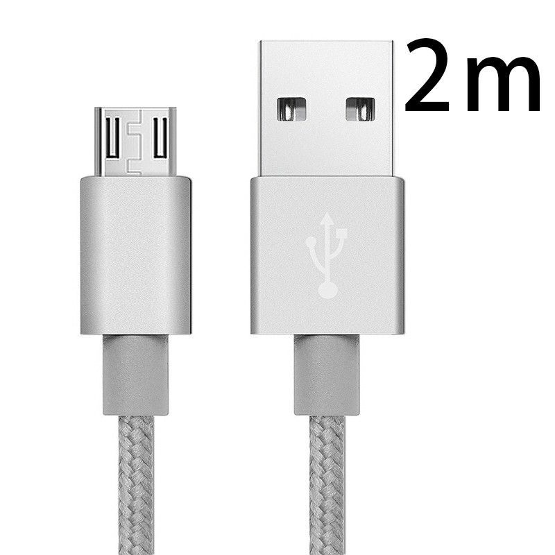 2m Knit Braid USB Data Sync Charging Cable for Samsung Android Phones - Silver